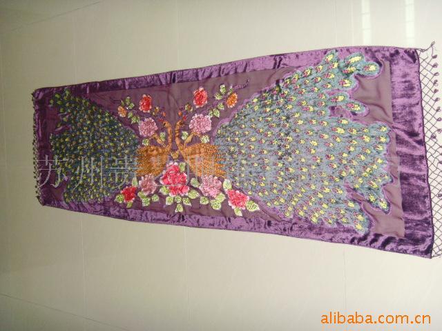 工厂直供烂花绒孔雀手工绣花珠绣披肩,多种颜色选择。