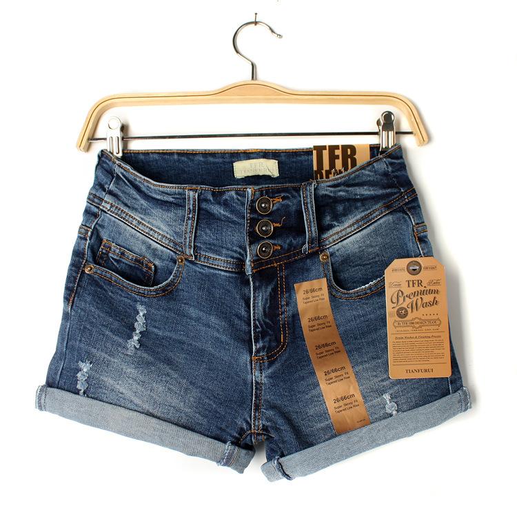 M3072 库存服装 2013春季新款女式热裤三粒扣卷边磨破牛仔短裤